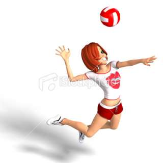 toon girl plays volleyball Royalty Free Stock Photo