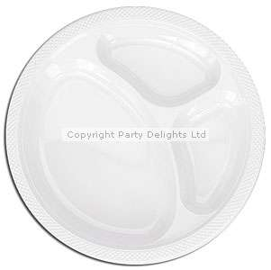 Plain Partyware White Plastic Divided Plates 26cm 20pk   WHITE  Add