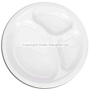 Plain Partyware White Plastic Divided Plates 26cm 20pk   WHITE  Add