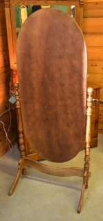 vintage floor standing mirror full length oak chevil