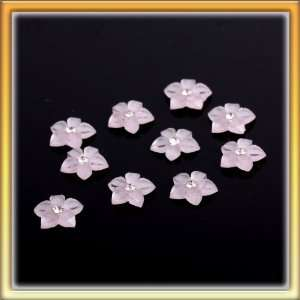 Cute Pink Shinning Flower Rhinestone Nail Art Stickers Nice Beauty