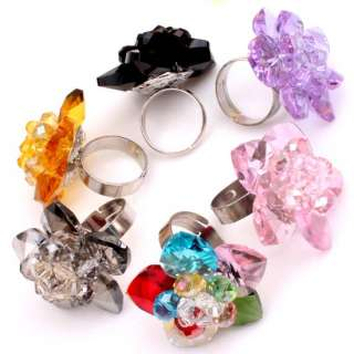 NEW Pink Man made Crystal Glass Flower Ring Adjustable