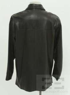 Andrew Marc Black Leather Mens Reefer Jacket Size Medium