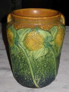 ANTIQUE ROSEVILLE SUNFLOWER ART POTTERY GARDEN POT BOWL FLOWER VASE