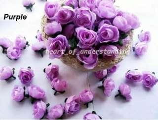 24x Artificial Silk Purple Rose Flower Head Wedding Hair Clip Decor