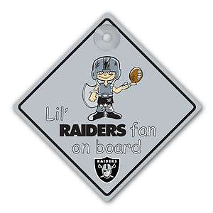 Oakland Raiders Car Window Baby On Board Sign Infant