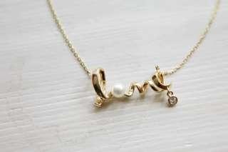 Korean Fashion Gold Color LOVE words Cute Necklace P203
