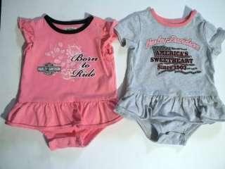Set of 2 HARLEY DAVIDSON Baby Girl Onesies Size 6 9 mo