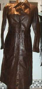 VS Sisley Phat brown leather coat jacket couture tailor trench blazer