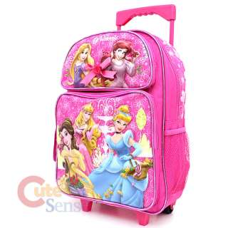Disney Princess w/ Tangled School Roller Backpack Rolling Bag 16