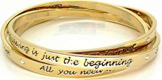 Disney Couture Triple Linked Gold Tinkerbell Bangles