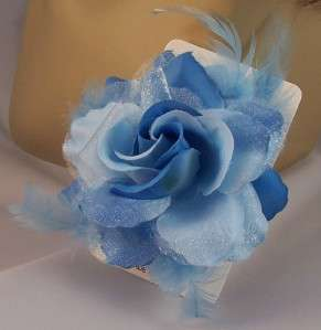 SKY BLUE Metallic ROSE FLOWER FEATHER HAIR Clip Ponytail Holder Brooch