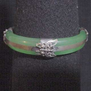 Antique Tibetan Silver Butterflies Jade Bangle Bracelet