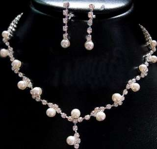 BRIDAL BRIDESMAID WEDDING JEWELRY FAUX PEARL FINE CHARMING NECKLACE