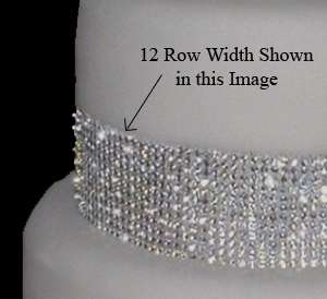 12 Rows of Crystal Rhinestone Wedding Cake Banding Tier Trim   Elegant