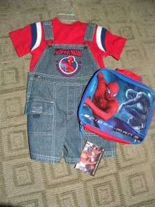NWT Boys 2T Spider Man Blue Jean Overalls & Lunch Box