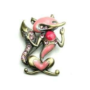 Pink Austrian Rhinestone Fox Brass Tone Brooch Pin Jewelry