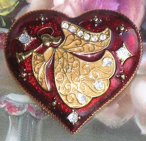 MONET VINTAGE STYLE CHRISTMAS HEART ANGEL BROOCH PIN