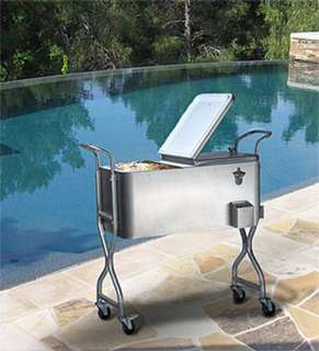 80 Quart Stainless Steel Party Cooler Ice Chest 24 Can Capacity Wheels