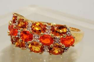 86CT OVAL CUT MEXICAN OPAL,CITRINE & DIAMOND RING SIZE 6.75