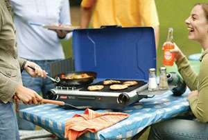 This Coleman propane grill stove lets you grill burgers and heat water
