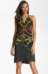 Donna Morgan V Neck Print Crêpe de Chine Shift Dress $118.00