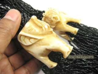 Beads strand Elephant hand carved tribal gypsy NECKLACE India