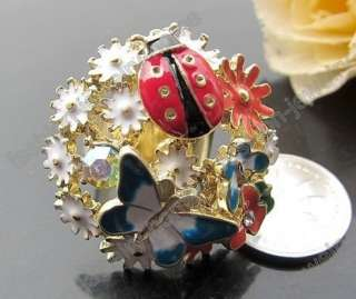Gold Plated Colorful Glazed Butterfly Crystal Flower Adjustable Ring
