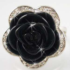 Size 8 Black rose Silver Gold Plated cocktail ring R112