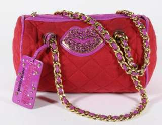 Betseyville Betsey Johnson Red Poly/Cotton Mini Duffel Handbag