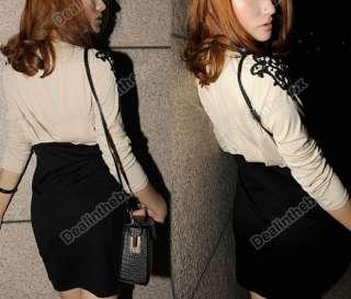 Fashion Korea Women Sexy Lace Trims on Shoulder Stitching Slim Draped