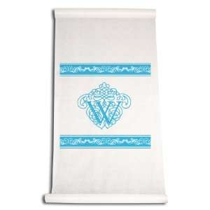 Aisle Runner, Fancy Font Letter W, White with Blue: Home & Kitchen