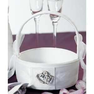 Crystal Double Heart Flower Girl Basket   White/Ivory