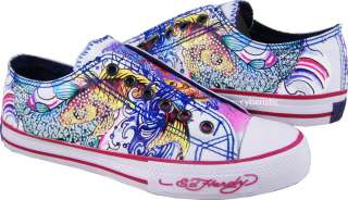 Womens Ed Hardy Koi Fish Rhinestones White Pink Shoes
