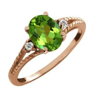 35 Ct Oval Envy Green Mystic Quartz and White Topaz 14k Rose Gold Ring