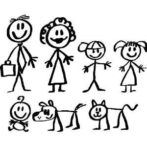 Stick People Family Car Decals Stickers,one Free Assorted
