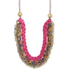 ZAD Unique Triple Chain Hot Pink Braided Fashion Bib Necklace Gold