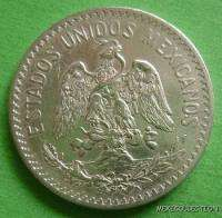 1908 MEXICO SILVER 50 CENTS RADIANT CAP MEXICAN COIN KEY DATE