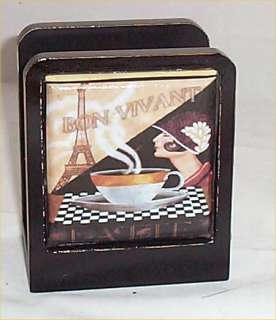 Coffee Cafe Paris Solid Wood Napkin Holder Bistro Home New Bistro Chef