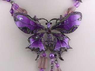 Purple Amy Crystal Butterfly Necklace Earring Set s0303