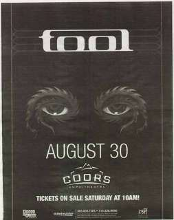 TOOL ALEX GREY DENVER NEWSPAPER POSTER AD 2006
