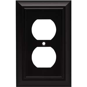 Architectural Single Duplex Wall Plate, Flat Black Electrical