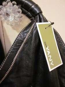 Anthropologie BLACK Lambskin Leather Oversized Hobo Handbag NWT $395