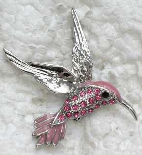 PINK RHINESTONE CRYSTAL HUMMINGBIRD PIN BROOCH G376