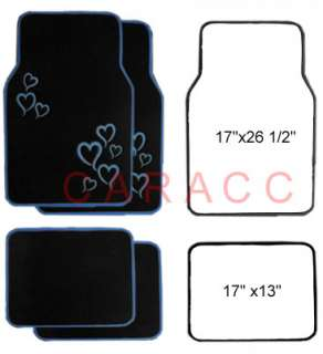 CARPET FLOOR MATS CARS TRUCKS 4PC HEARTS BLUE