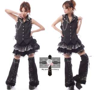 UNISEX Visual Kei Striped Rock Tuxedo Vampire Vest Top