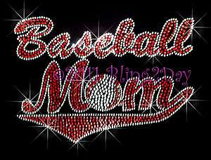 Baseball Mom Red Banner Rhinestone Iron on Transfer Hot Fix Bling for