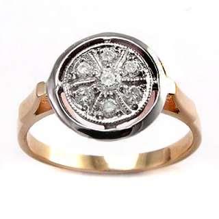 Russian Jewelry 18k Rose & White Gold Diamond Ring R1364