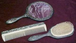 Vintage Silverplated Vanity Set Mirror Brush & Comb