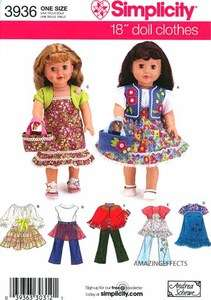 Simplicity Pattern 3936 18 Doll Clothes American Girl 039363303121